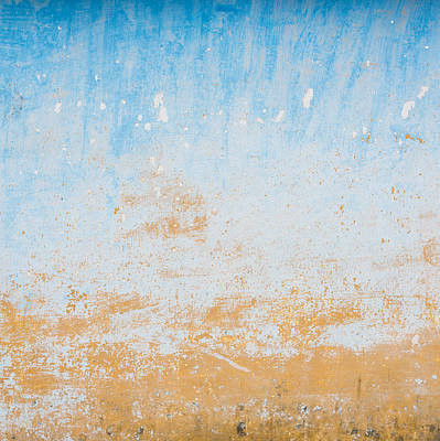 Dilapidated Beige And Blue Wall Texture Art Print