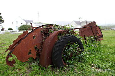 Dilapidated Farm Tractor At The Old Pierce Point Ranch In Foggy Point Reyes California 5d28120 Art Print