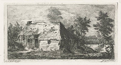 Old Cabins Drawing - Dilapidated Peasant Cabin, Jacobus Cornelis Gaal by Artokoloro