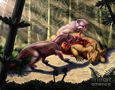 Carcass Digital Art - Dilophosaurus Wetherilli Eating by Yuriy Priymak