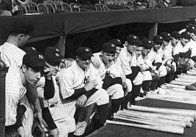 Dugouts Photograph - Dimaggio In Yankee Dugout by Underwood Archives