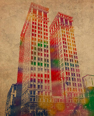 Numbers Mixed Media - Dime Building Iconic Buildings Of Detroit Watercolor On Worn Canvas Series Number 1 by Design Turnpike