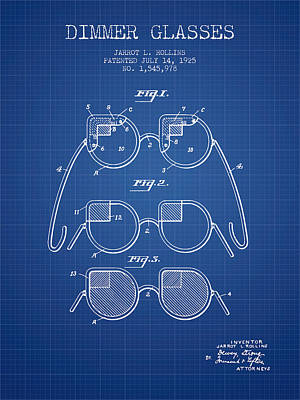 Dimmer Glasses Patent From 1925 - Blueprint Art Print by Aged Pixel