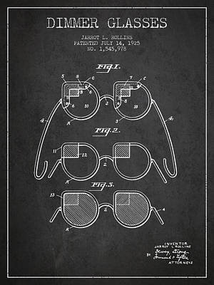 Dimmer Glasses Patent From 1925 - Dark Art Print by Aged Pixel