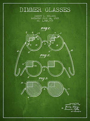 Dimmer Glasses Patent From 1925 - Green Art Print by Aged Pixel