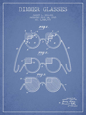 Dimmer Glasses Patent From 1925 - Light Blue Art Print by Aged Pixel