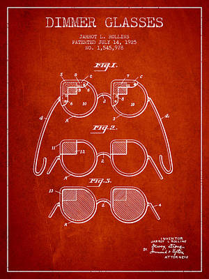 Dimmer Glasses Patent From 1925 - Red Art Print by Aged Pixel