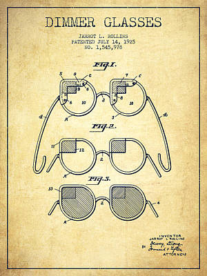 Dimmer Glasses Patent From 1925 - Vintage Art Print by Aged Pixel