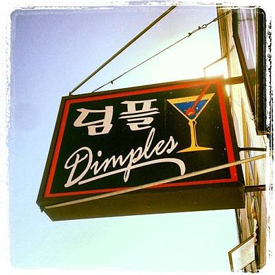 Martini Wall Art - Photograph - Dimples Japantown Bar Sign #bar #sign by Lynn Friedman