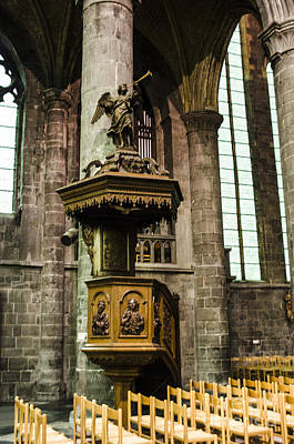 Photograph - Dinant Cathedral Pulpit by Deborah Smolinske