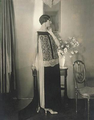 Bead Embroidery Photograph - Dinarzade Wearing A Velvet Dress by Edward Steichen