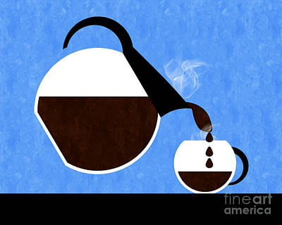 Digital Art - Diner Coffee Pot And Cup Blue Pouring by Andee Design