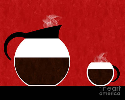 Digital Art - Diner Coffee Pot And Cup Red by Andee Design
