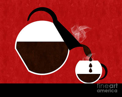 Pouring Digital Art - Diner Coffee Pot And Cup Red Pouring by Andee Design
