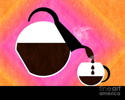 Sorbet Digital Art - Diner Coffee Pot And Cup Sorbet Pouring by Andee Design