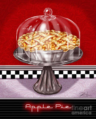 Cherry Pie Mixed Media - Diner Desserts - Apple Pie by Shari Warren