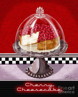 Lemon Mixed Media - Diner Desserts - Cherry Cheesecake by Shari Warren