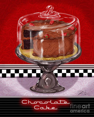 Lemon Mixed Media - Diner Desserts - Chocolate Cake by Shari Warren
