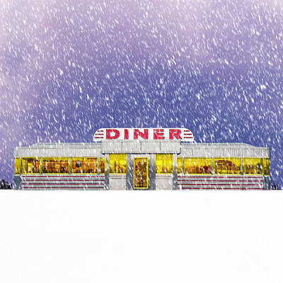 Diner In Snowstorm Square  Art Print