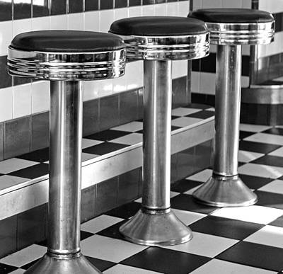 Diner Stools Art Print by Lisa Phillips