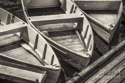 Rowboat Digital Art - Dinghies Dockside Bw by Jerry Fornarotto