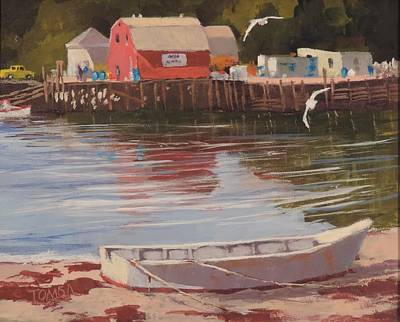 Maine Seacoast Painting - Dinghy At Mackerel Cove by Bill Tomsa