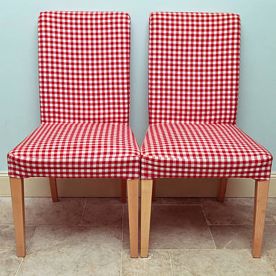 Gingham Photograph - Dining Chairs by Tom Gowanlock