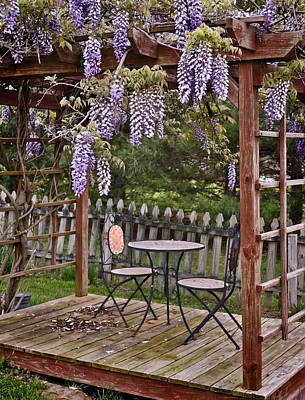 Dining For Two Under Wisteria Art Print