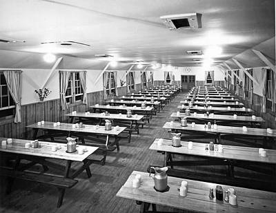 Picnic Table Photograph - Dining Hall Interior by Underwood Archives