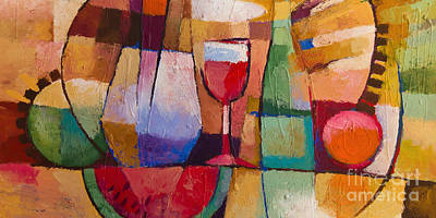 Wine Glass Painting - Dining by Lutz Baar