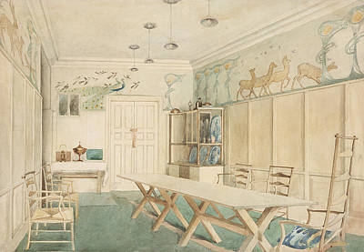 Ladder Back Chairs Drawing - Dining Room At 37 Cheyne Walk, Chelsea by Charles Robert Ashbee