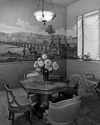 Bouquet Photograph - Dining Room In Helena Rubinstein's Home by F. S. Lincoln