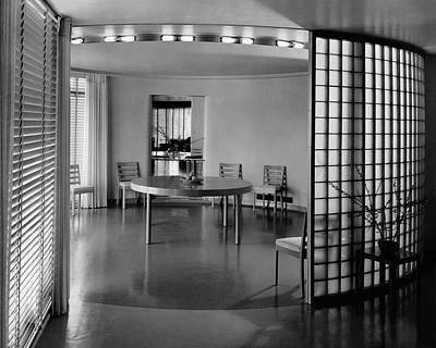 Glass Wall Photograph - Dining Room In Mr. And Mrs. Alfred J. Bromfield by Hedrich-Blessing