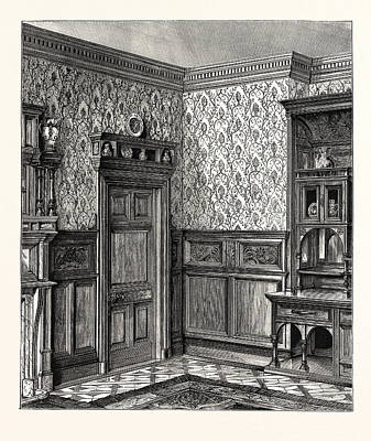 Dining Room Woodwork Art Print by English School