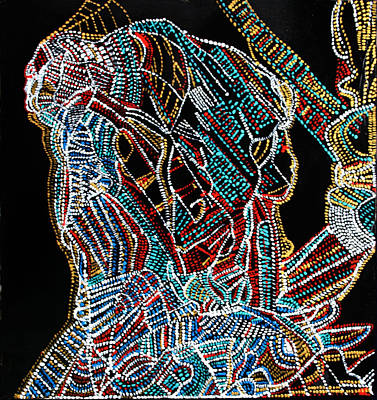 Art Print featuring the painting Dinka Warrior by Gloria Ssali