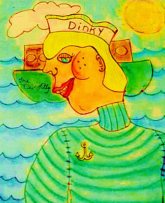 Yacht Mixed Media - Dinky P. Troff by Melissa Osborne
