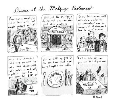 The Economy Drawing - Dinner At The Mortgage Restaurant by Roz Chast