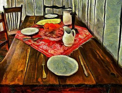 Inspired By Van Gogh Wall Art - Painting - Dinner For Two  by L Wright