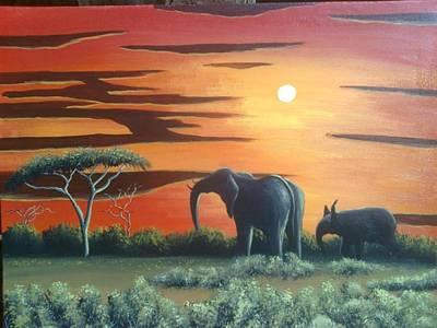 Painting - Dinner by Hilton Mwakima