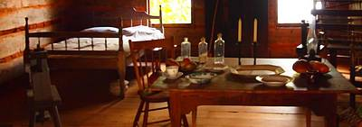 Log Cabin Interiors Photograph - Dinner In Nostalgia by Dan Sproul