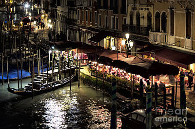 The Grand Place Photograph - Dinner On The Grand Canal At Night by John Rizzuto
