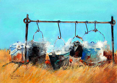 Cattle Drive Painting - Dinner Pots by Suzy Pal Powell