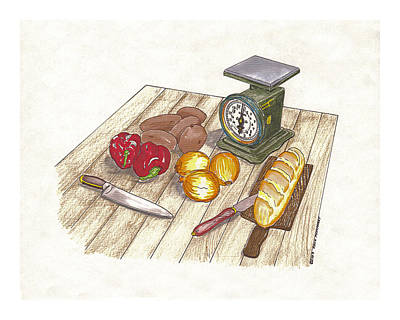 Onion Drawing - Weighing Dinner Preparation Supper by Jack Pumphrey