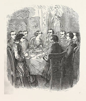 Champagne Glasses Drawing - Dinner, The Count Of Monte Christo Alexandre Dumas, 1844 by English School
