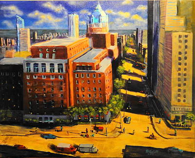 Hot Dog Stand Painting - Dinner Time Downtown by Brent Arlitt