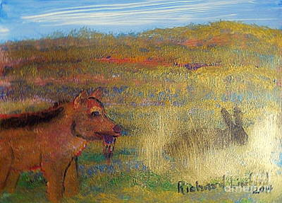 Painting - Dinner Time For Lobo Wolf And Rabbit 1 by Richard W Linford