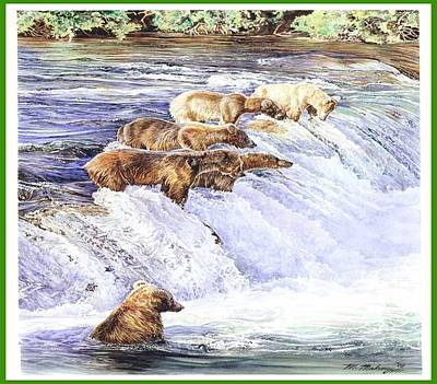 Brown Bear Drawing - Dinner Time by Mark Mahoney