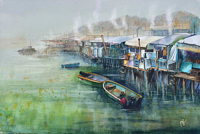 Stilt House Painting - Dinner Time by Perry Chow