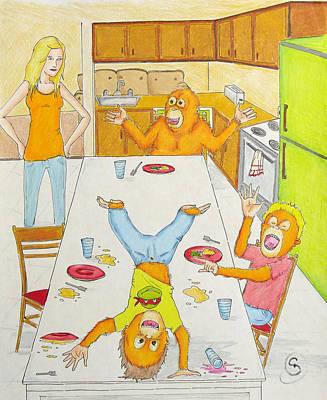 Orangutan Drawing - Dinner With Orangutans by Ryan Sweeney