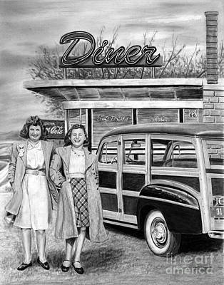 Drawing - Dinner With The Girls by Peter Piatt